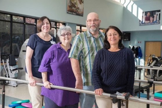 In the Hospital of Central Connecticut's therapy pavilion: from left, Kerri McQuillan (registered (registered play therapist), Arlene Palmer and Dan Palmerand Laurie Lee (physical therapist).