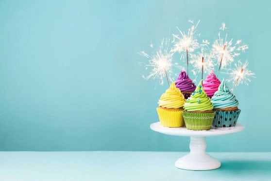 Cupcakes with sparklers.