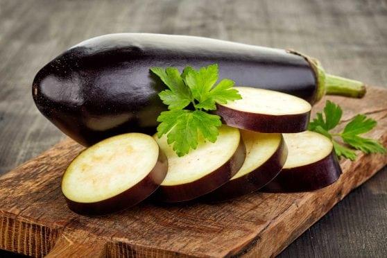 Sliced eggplant.