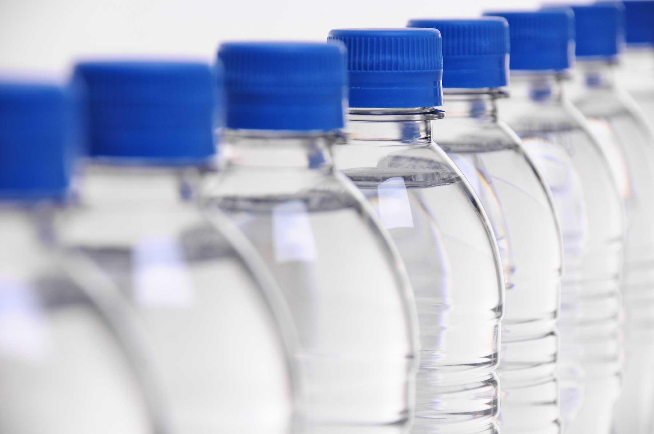 Water bottles, aligned.