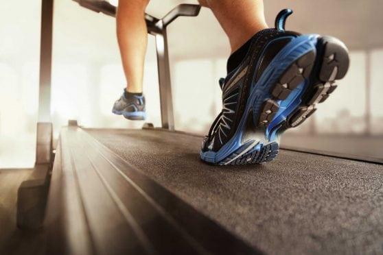 Two feet on treadmill.