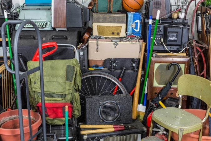 Stacks of vintage equipment.