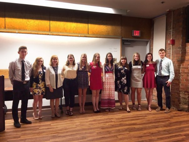 College bound students pursuing healthcare careers and recipients of 2019 Charlotte Hungerford Hospital Auxiliary scholarship awards pose at recent annual presentation ceremony. (LtoR) Brett Stater, Lauren Pavao, Marie Bate, April Ruopp, Karoline Morton, Kathleen Morton, Erin Gonchar, Jessica Tessman, Grace Kryzanski, Madison McCarthy, and Ryan Nolan.
