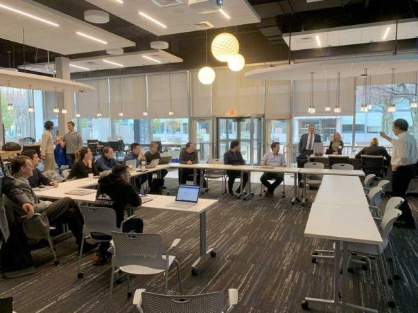 The first class of 10 companies selected for downtown Hartford's medtech accelerator got to work Tuesday on Constitution Plaza. (Kenneth R. Gosselin)