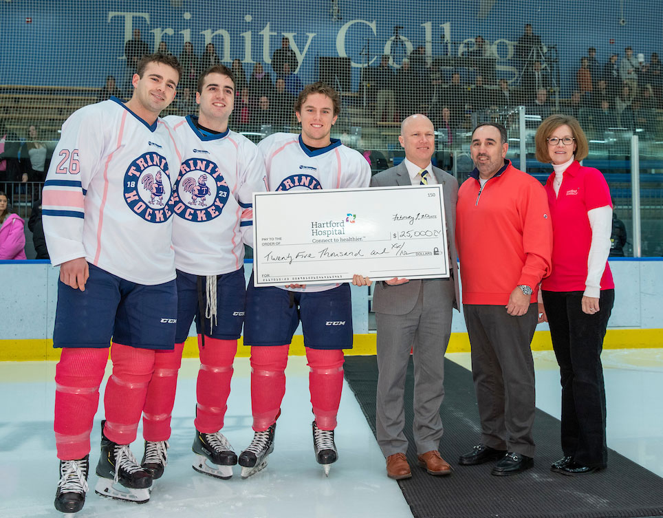 Trinity Men's Hockey, in Fundraiser Game, Sees Pink in the Rink